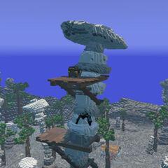 Treasure Chest on a platform on a boulder stack.