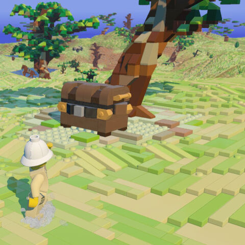 An Explorer approaches an Item Chest beneath a Savanna Tree.