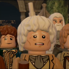 Frodo, Gandalf, Sam, Merry, Pippin and Bilbo at The Grey Havens in the 100% secret ending.