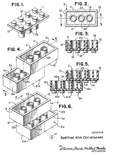 Tfred Kirk Sen S Patent Image Of The Lego Brick