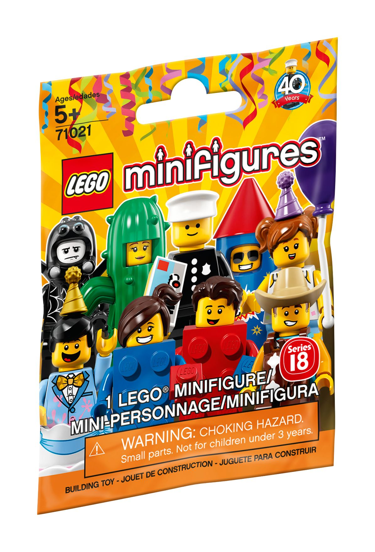 Lego Minifigure 71021 Series 18 Party 40 Years Factory Sealed /& In-Hand