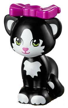 "LEGO FRIENDS WHITE CAT WITH PATCHES /""VEGA/"" Kitten Kitty Animal Minifigure Figure"