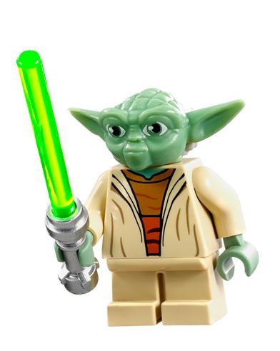 LEGO NEW Yoda Minifigure Star Wars Olive Rebel Jedi Green Lightsaber 75142 75168