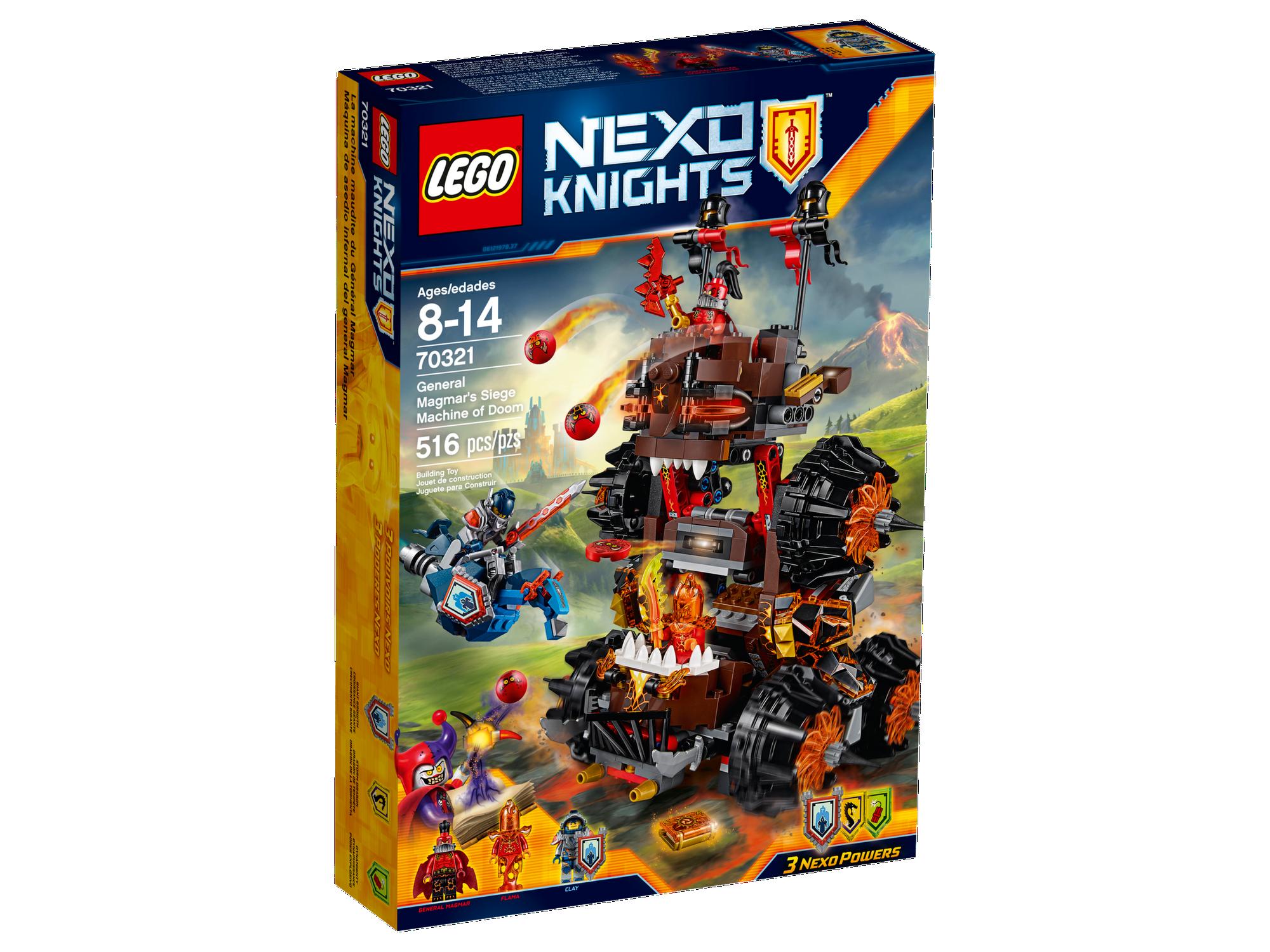 LEGO 70321 Nexo Knights General Magmar/'s Siege Machine of Doom 3 Minifigures