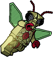 Insectoid w// Wings Minifig Animal Dark Red Eyes Olive Green LEGO