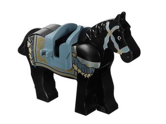 LEGO BLACK DECORATED HORSE MINIFIGURE DETAILED ANIMAL CASTLE FIG