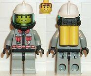 Fire - City Center 5, Light Gray Legs with Black Hips, White Fire Helmet, Airtanks