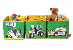 SD471green Connectable Toy Bins Green Police