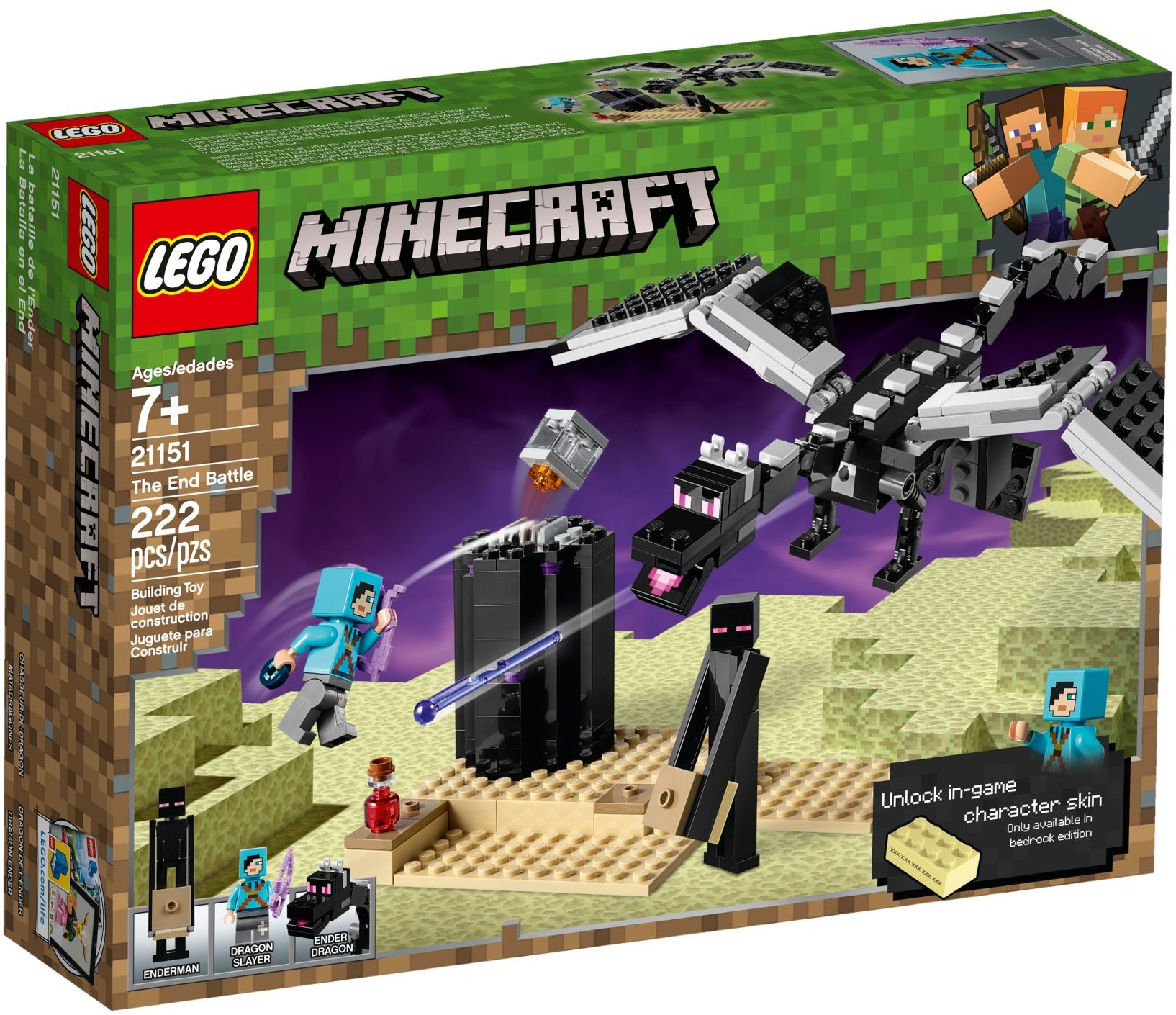 LEGO MINECRAFT ENDERMAN MINIFIGURE FROM SET 21117 The Ender Dragon