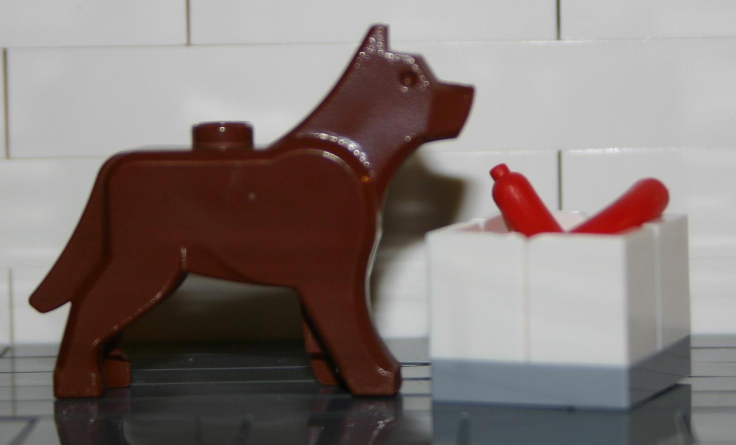 LEGO Puppy Pet Animal Minifigure City Town White Terrier Dog w// Black Eyes
