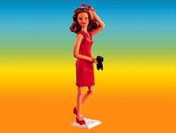 Caroline in a red dress
