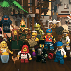 The Chicken Suit Guy in group of minifigures. (front row)
