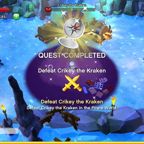 Defeat Crikey the Kraken Achievement awarded