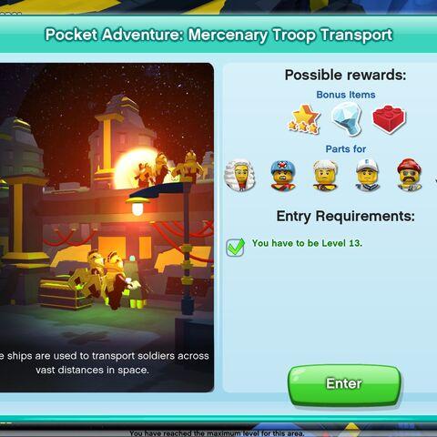 Mercenary Troop Transport entrance screen