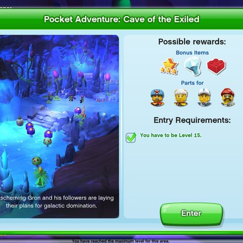 Cave of the Exiled entrance screen