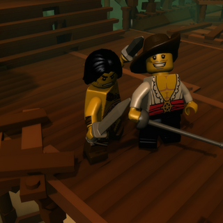 A player next to the Swashbuckler, who resides in the Pirate town.