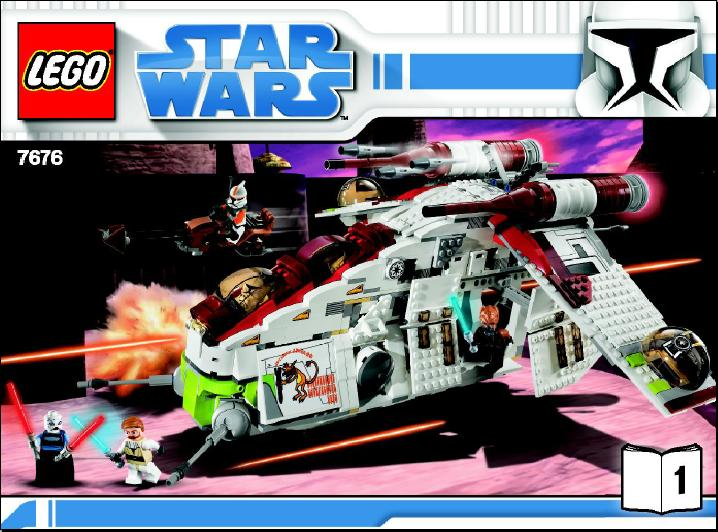 Image Star Wars 7676 Republic Attack Gunship Building Instruction