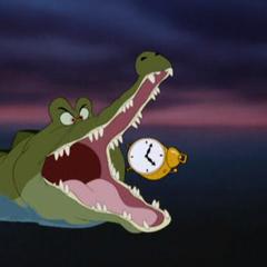 Le Crocodile sur le point de ravaler le réveil-matin