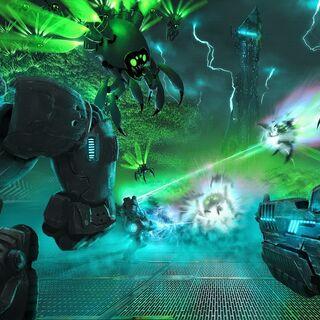 Vue en 3D du jeu <i>Hero's Duty</i>.