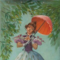 Une jolie jeune femme (Ally Gal ou Tightrope Walker Girl) tenant un parasol se révèle être funambule: elle est en équilibre sur une corde rasante au-dessus des mâchoires béantes d'un alligator.