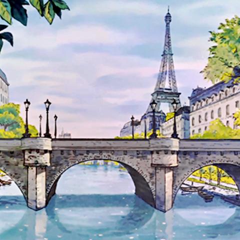 Paris au début du XXème siècle, La Tour Effeil, et un pont enjambant la Seine (<small>Les Aristochats</small>)