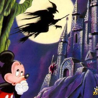 Mickey devant le château des illusions.