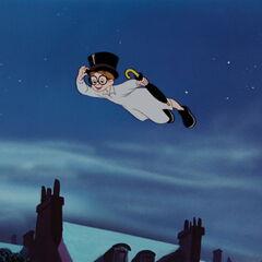 Jean s'envolant sur les toits de Londres