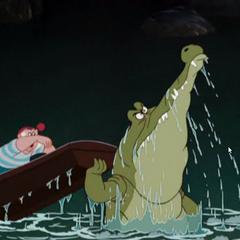 Le Crocodile pousse la barque de Mouche, de façon à avaler Crochet