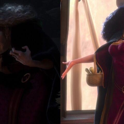 La Mère Gothel a deux visages différents: à gauche sous son apparence réelle, à droite avec l'effet de la fleur.