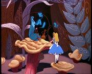 Chenille Bleue fumée lettres Alice au Pays des Merveilles 1951