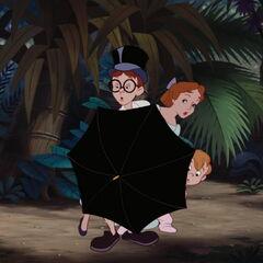 Jean avec son parapluie déployé