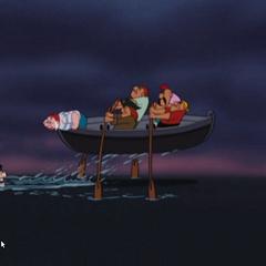 Mouche assiste à la défaite du Capitaine, poursuivi par le Crocodile
