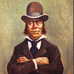 Un homme au chapeau melon est assis sur les épaules d'un autre homme, qui est assis sur les épaules d'un troisième homme qui s'enfonce dans les sables mouvants.