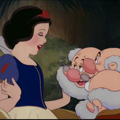 Blanche-Neige faisant ses adieux aux nains.
