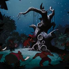 Les Pirates s'approchent de l'Arbre du Pendu