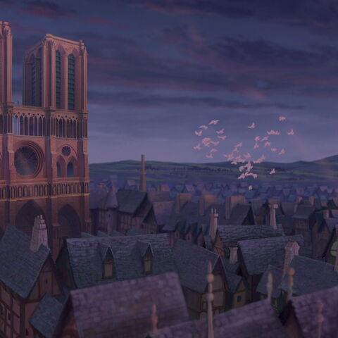 Notre Dame vers la fin du XVème siècle (<small>Le Bossu de Notre Dame</small>)