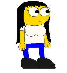 GOLD YELLOW GIRL WITH BREASTS A WHITE SHIRT BLUE PANTS AND BLACK SHOES SPRITE TRANS