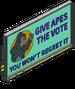 Panneau ''Droit de vote aux singes''