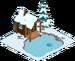Abri de pêche dans la neige