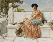 Painting of a woman dressed in Greek robes sitting on a marble bench with trees and water in the distance.
