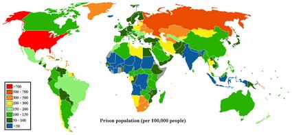 Prisoner population rate world map