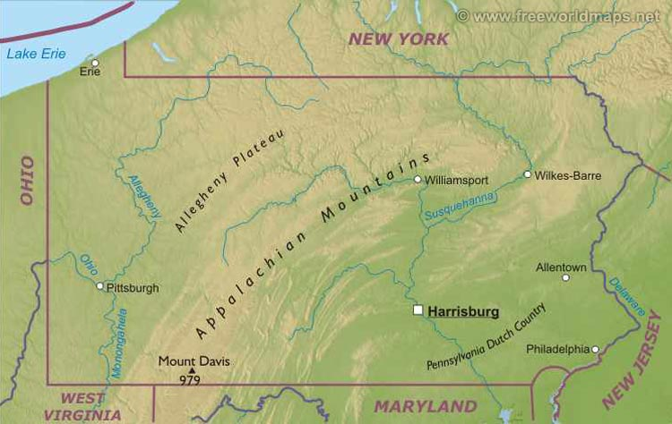 Image Pennsylvaniamapjpg Liberapedia FANDOM Powered By Wikia - Physical map of virginia