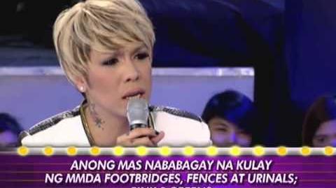 "Risa debating on a talk show ""Gandang Gabi Vice"""