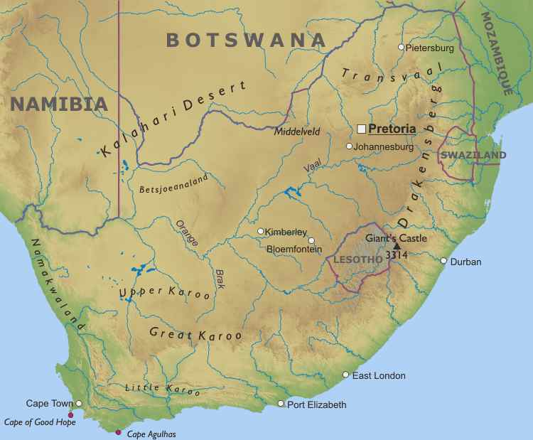 Africa Physical Map 2014 South Africa   ...