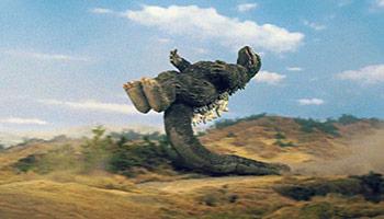 Godzilla 1973 kangaroo kick