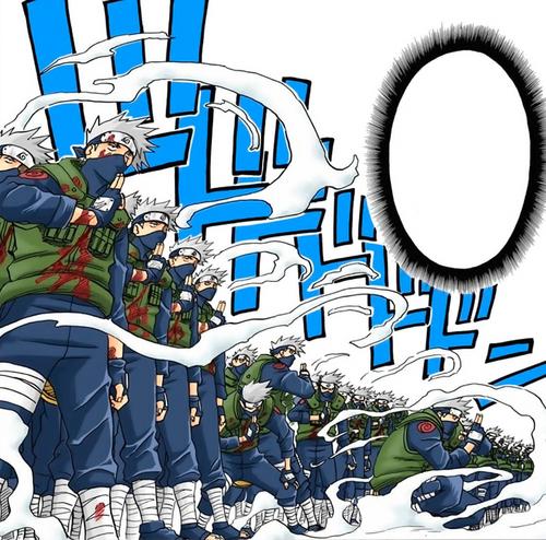 Múltiplos Clones de Kakashi (Mangá Colorido)