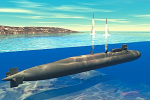 300px-Ohio-class submarine launches Tomahawk Cruise missiles (artist concept)