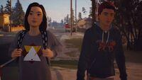 Lyla walking with Sean