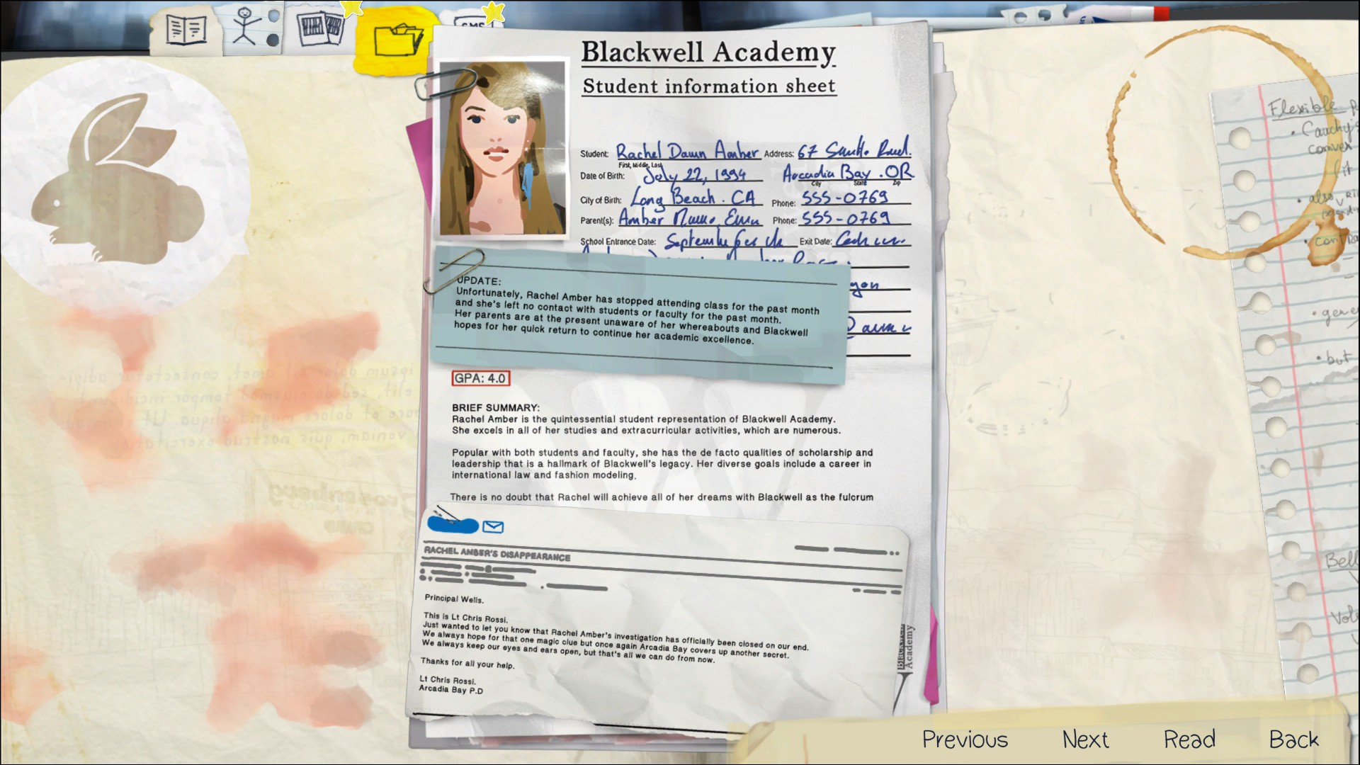 Rachel amber life is strange wiki fandom powered by wikia blackwell academy record aiddatafo Image collections