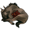 Carcass wildebeest